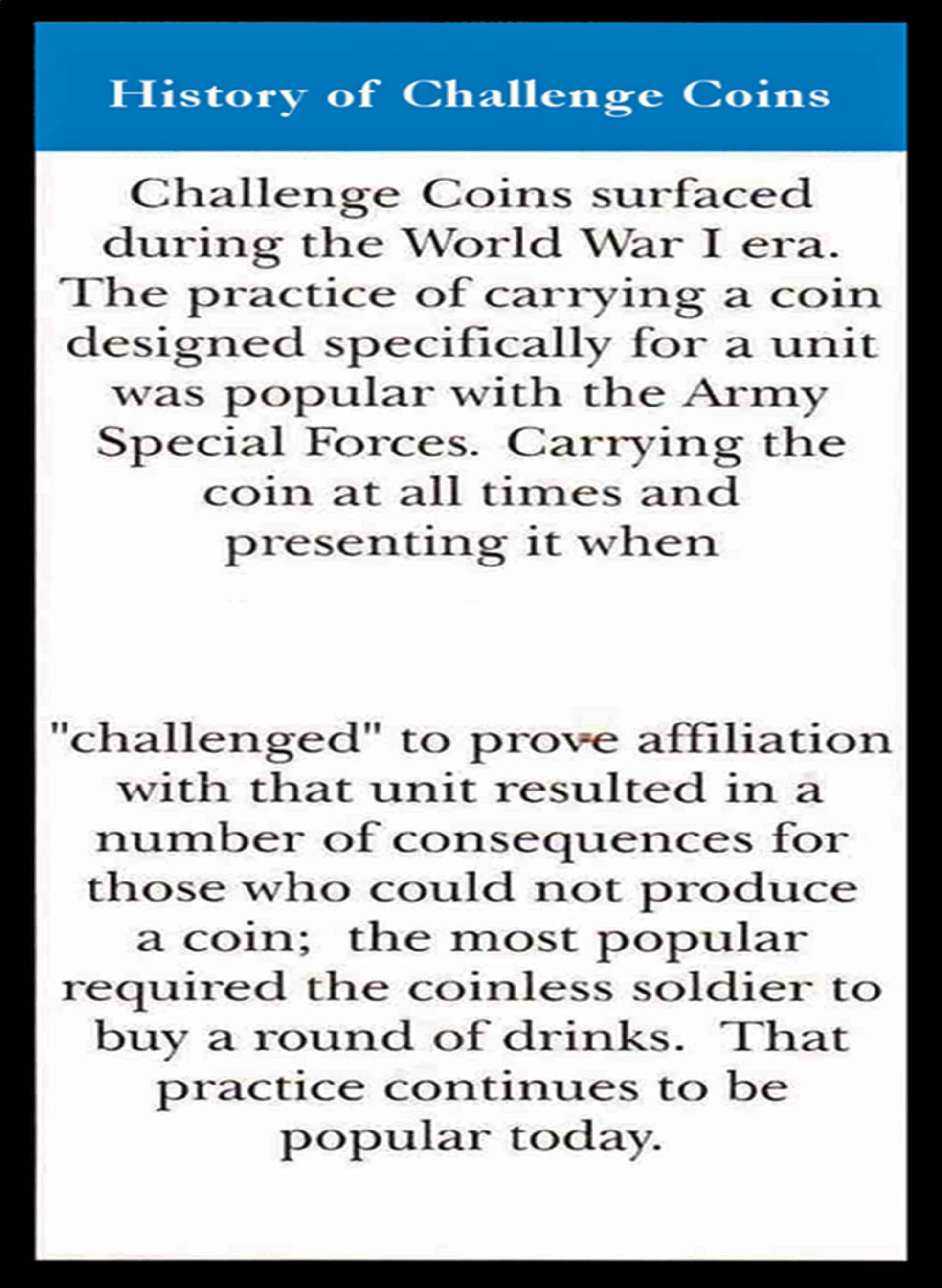 Challenge Coin History
